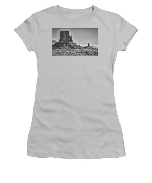 Women's T-Shirt (Junior Cut) featuring the photograph Monument Valley 3 Bw by Ron White