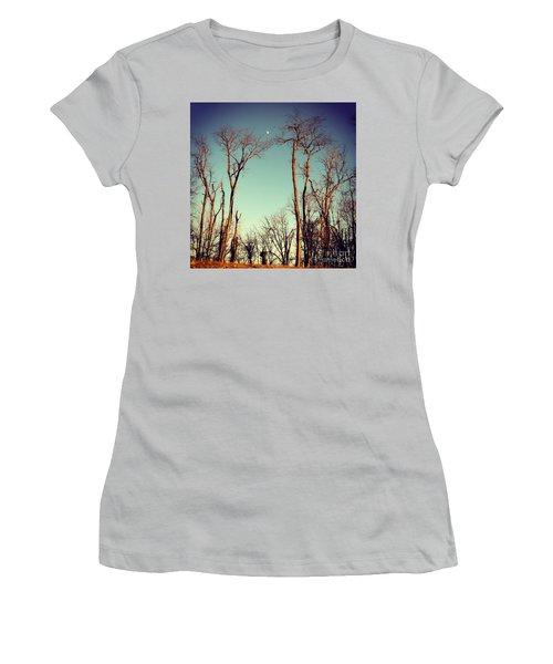 Moon Between The Trees Women's T-Shirt (Junior Cut) by Kerri Farley