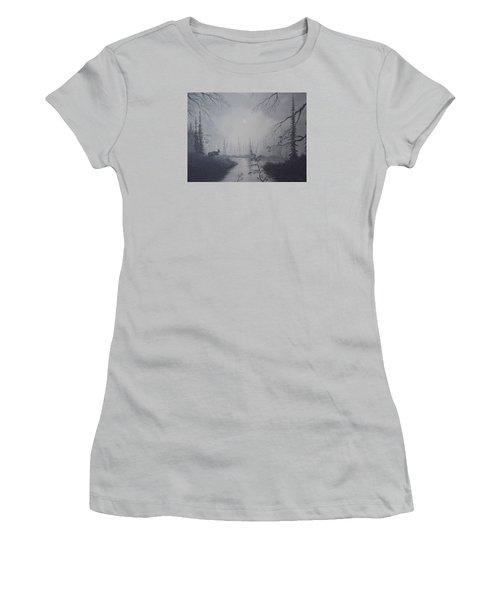 Moose Swanson River Alaska Women's T-Shirt (Junior Cut) by Richard Faulkner