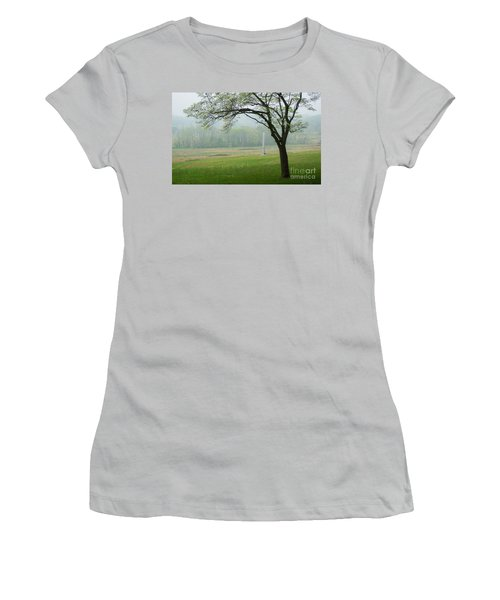 Women's T-Shirt (Junior Cut) featuring the photograph Morning Fog At The Monument by Rima Biswas