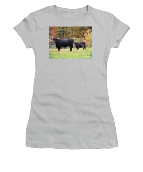 Women's T-Shirt (Junior Cut) featuring the photograph Highland Cattle  by Eunice Miller
