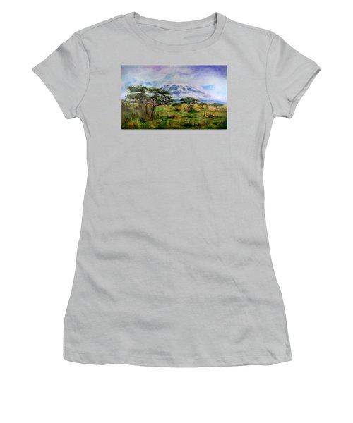 Women's T-Shirt (Junior Cut) featuring the painting Mount Kilimanjaro Tanzania by Sher Nasser