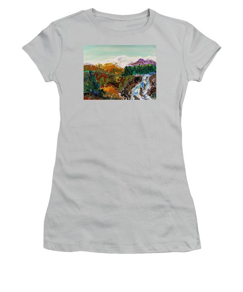 Mountain Water Women's T-Shirt (Junior Cut) by Mary Carol Williams