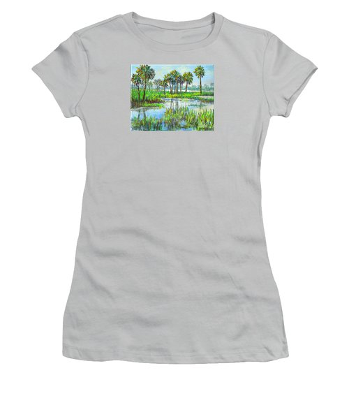 Women's T-Shirt (Junior Cut) featuring the painting Myakka Lake With Palms by Lou Ann Bagnall