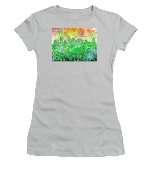 Nashville Skyline Watercolor 2 Women's T-Shirt (Athletic Fit)