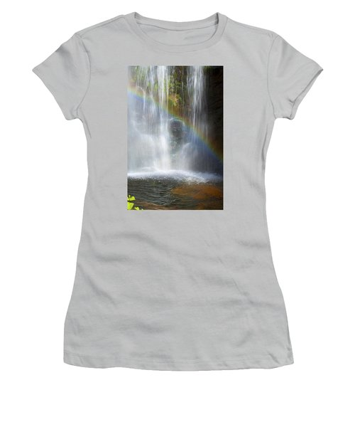 Women's T-Shirt (Junior Cut) featuring the photograph Natures Rainbow Falls by Jerry Cowart