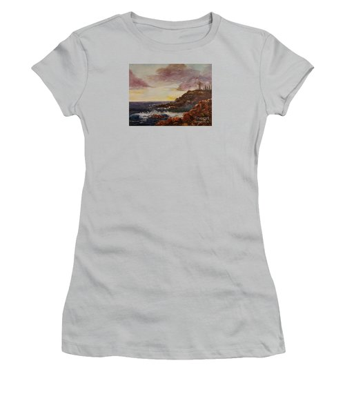 Women's T-Shirt (Junior Cut) featuring the painting New England Storm by Lee Piper