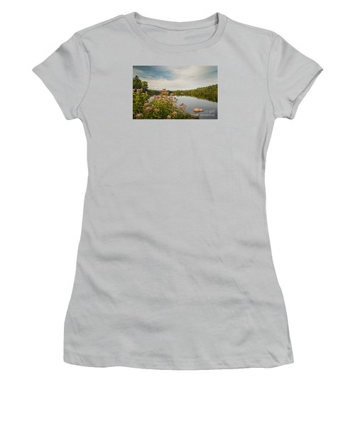 Women's T-Shirt (Junior Cut) featuring the photograph New York Lake by Debbie Green