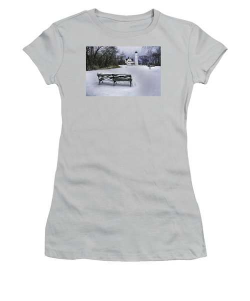 North Point Lighthouse And Bench Women's T-Shirt (Junior Cut) by Scott Norris