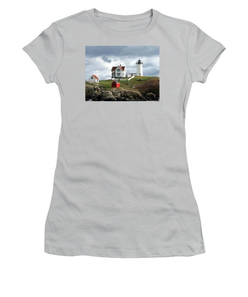 Nubble Lighthouse Women's T-Shirt (Junior Cut) by Nancy Landry