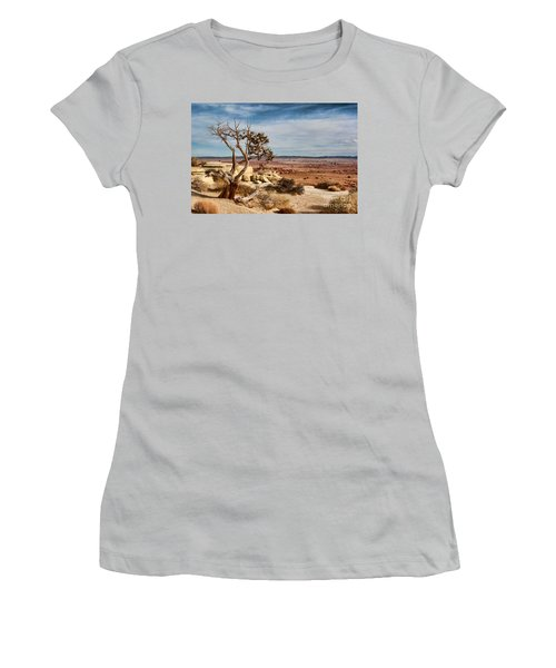 Women's T-Shirt (Junior Cut) featuring the photograph Old Desert Cypress Struggles To Survive by Michael Flood