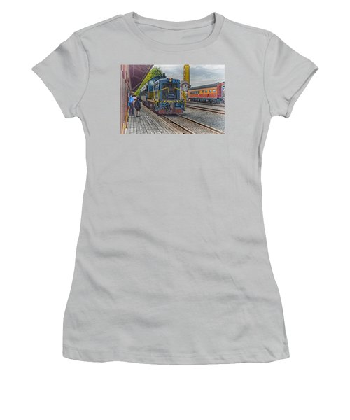 Old Town Sacramento Railroad Women's T-Shirt (Junior Cut) by Jim Thompson
