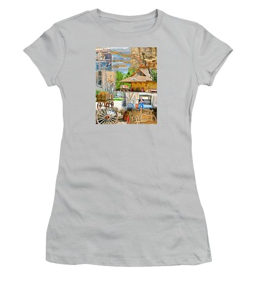 Old West Collage Women's T-Shirt (Junior Cut) by Marilyn Diaz