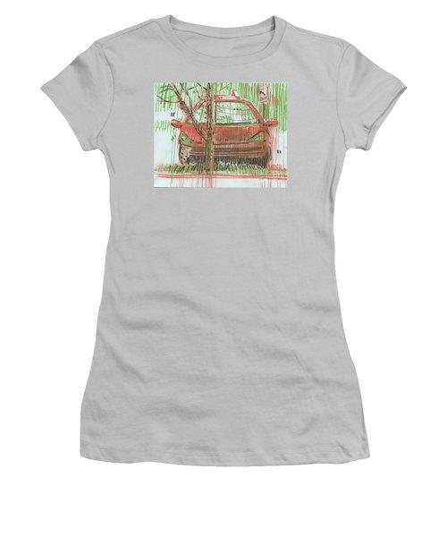 Women's T-Shirt (Junior Cut) featuring the painting Papa John's by Donald Maier