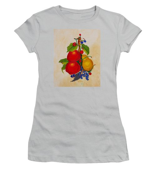 Women's T-Shirt (Junior Cut) featuring the painting Pear And Apples by Johanna Bruwer