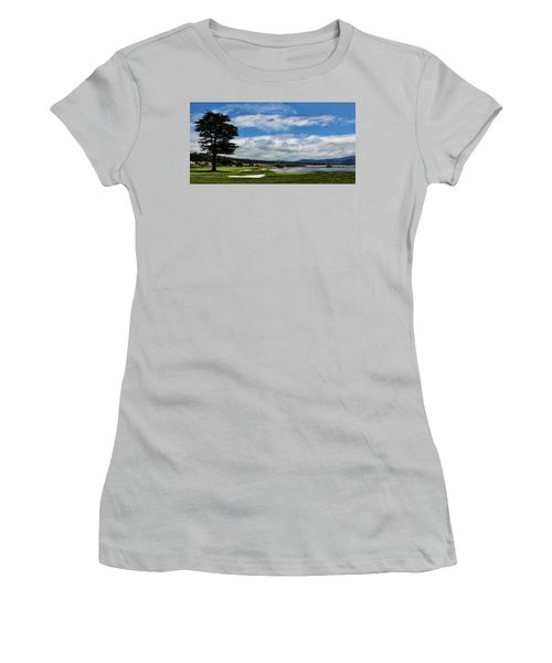 Pebble Beach - The 18th Hole Women's T-Shirt (Junior Cut) by Judy Vincent
