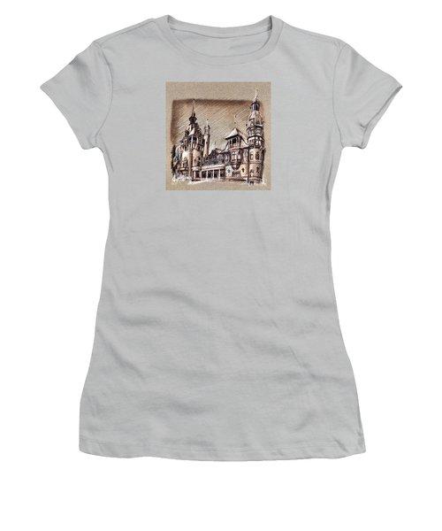 Peles Castle Romania Drawing Women's T-Shirt (Athletic Fit)
