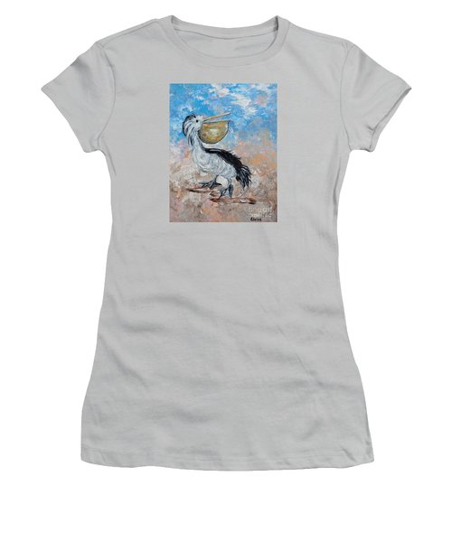 Women's T-Shirt (Junior Cut) featuring the painting Pelican Beach Walk - Impressionist by Eloise Schneider