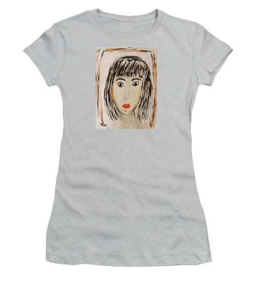 Pensive M.  Women's T-Shirt (Junior Cut) by Mary Carol Williams
