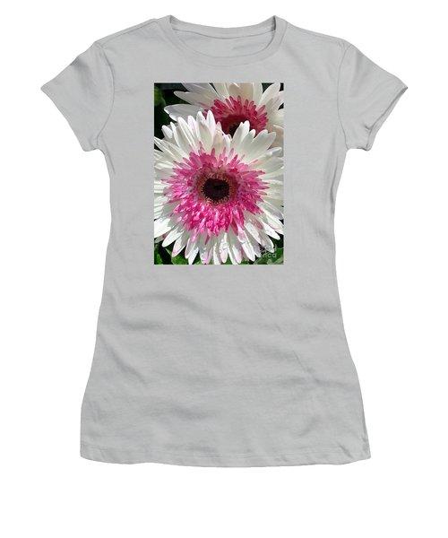 Women's T-Shirt (Junior Cut) featuring the photograph Pink N White Gerber Daisy by Sami Martin