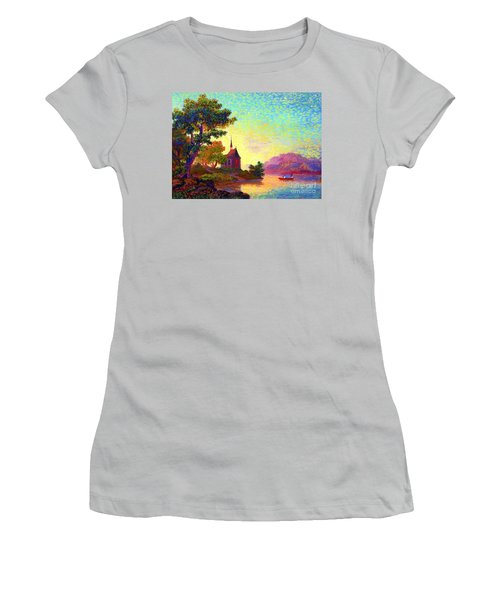 Women's T-Shirt (Junior Cut) featuring the painting Beautiful Church, Place Of Welcome by Jane Small