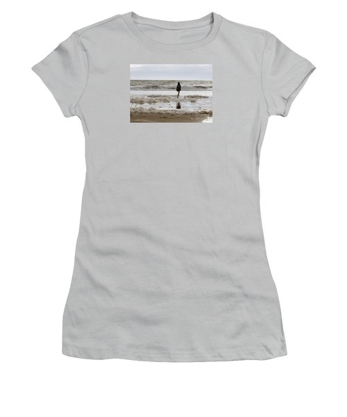 Women's T-Shirt (Junior Cut) featuring the photograph Girl Playing In Sea Foam by Haleh Mahbod