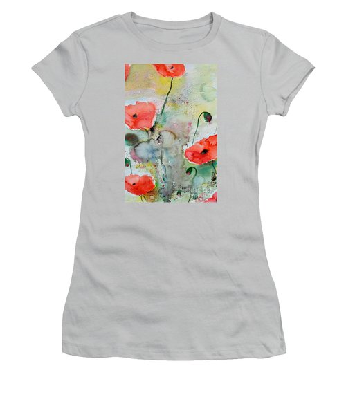 Women's T-Shirt (Junior Cut) featuring the painting Poppies - Flower Painting by Ismeta Gruenwald