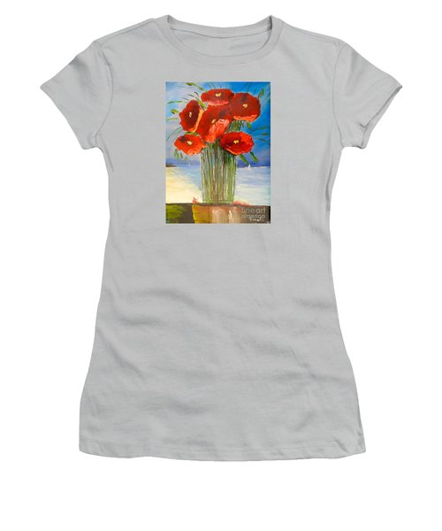 Women's T-Shirt (Junior Cut) featuring the painting Poppies On The Window Ledge by Pamela  Meredith