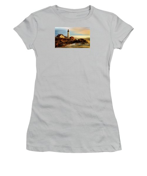 Portland Head Lighthouse At Dawn Women's T-Shirt (Junior Cut) by Jerry Fornarotto