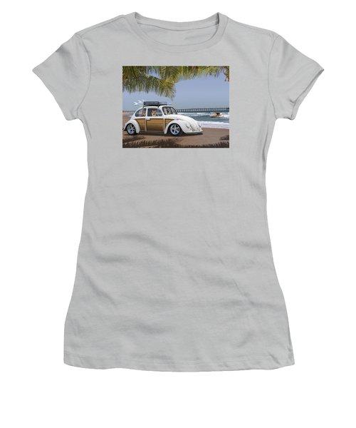 Postcards From Otis - Beach Corgis Women's T-Shirt (Junior Cut) by Mike McGlothlen