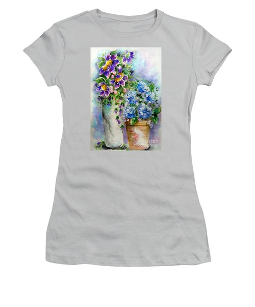 Purple Flowers Women's T-Shirt (Junior Cut) by Patrice Torrillo