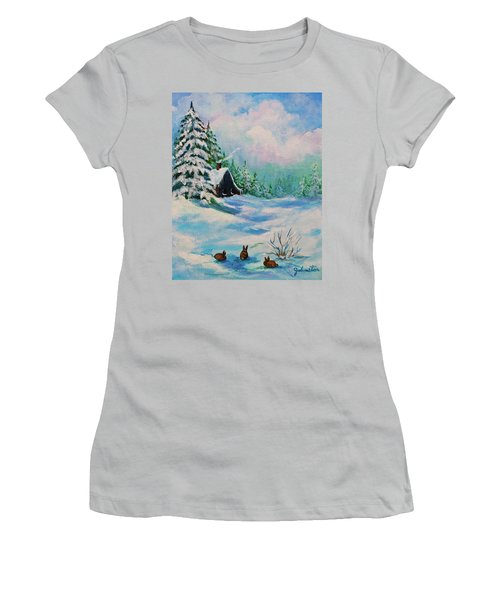 Women's T-Shirt (Junior Cut) featuring the painting Rabbits Waiting For Spring by Bob and Nadine Johnston