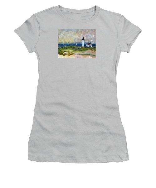 Women's T-Shirt (Junior Cut) featuring the painting Race Point Light by Michael Helfen