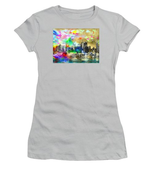 Rainbow Nyc Skyline Women's T-Shirt (Athletic Fit)
