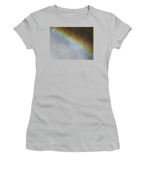 Women's T-Shirt (Junior Cut) featuring the photograph Rainbow Over The Falls by Laurel Powell
