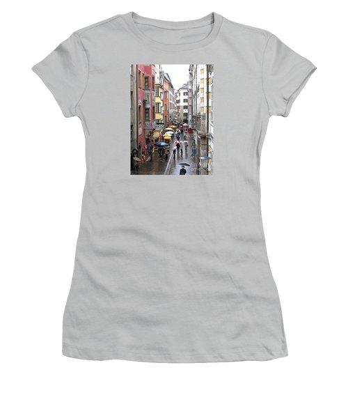 Rainy Day Shopping Women's T-Shirt (Junior Cut) by Ann Horn