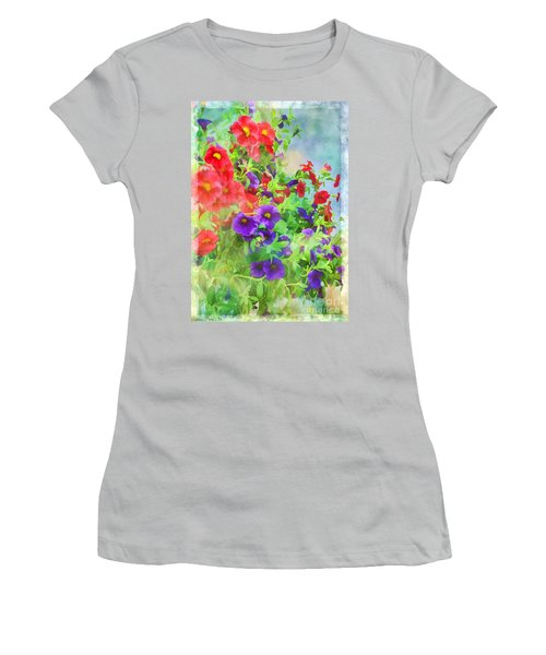 Red And Purple Calibrachoa - Digital Paint I Women's T-Shirt (Athletic Fit)
