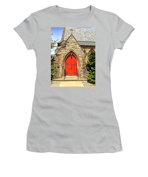 Women's T-Shirt (Junior Cut) featuring the photograph Red Arch Church Door 1 by Becky Lupe