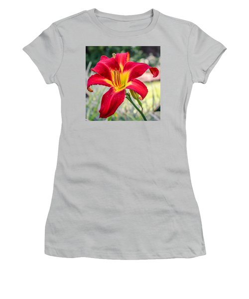 Women's T-Shirt (Junior Cut) featuring the photograph Red Daylily by Rob Sellers