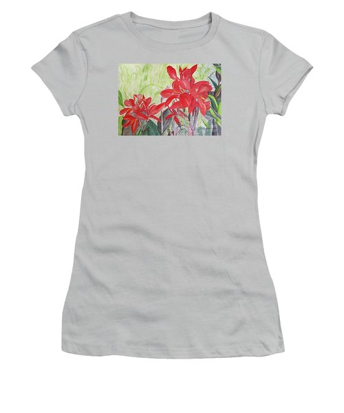 Red Flowers Women's T-Shirt (Junior Cut)