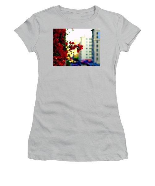 Red Flowers Downtown Women's T-Shirt (Junior Cut) by Matt Harang