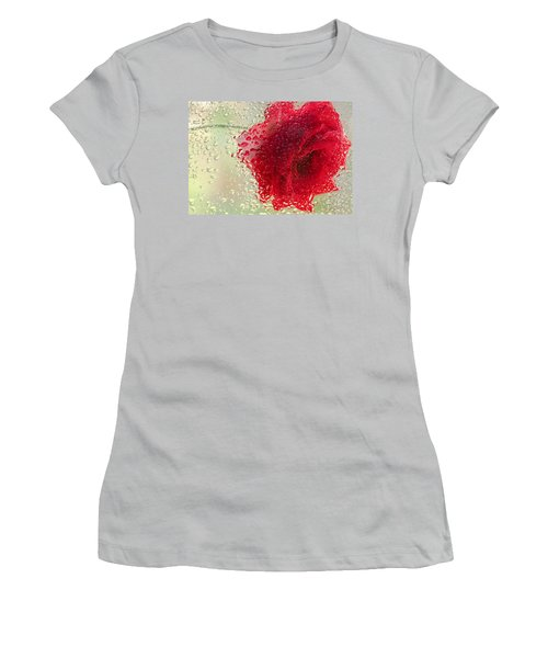 Red Rose In The Rain Women's T-Shirt (Junior Cut) by Don Schwartz