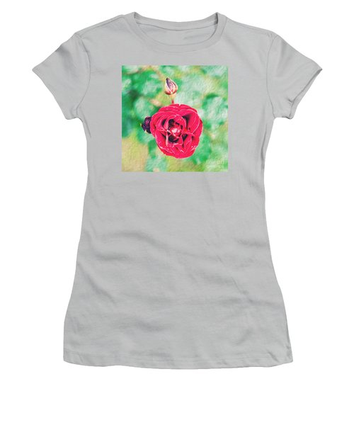 Women's T-Shirt (Junior Cut) featuring the photograph Red Rose by Yew Kwang