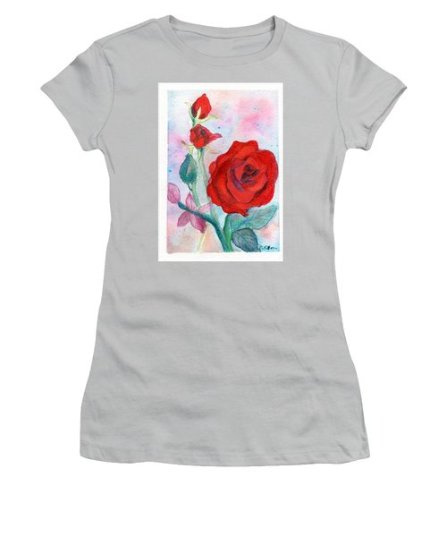 Red Roses Women's T-Shirt (Junior Cut) by C Sitton