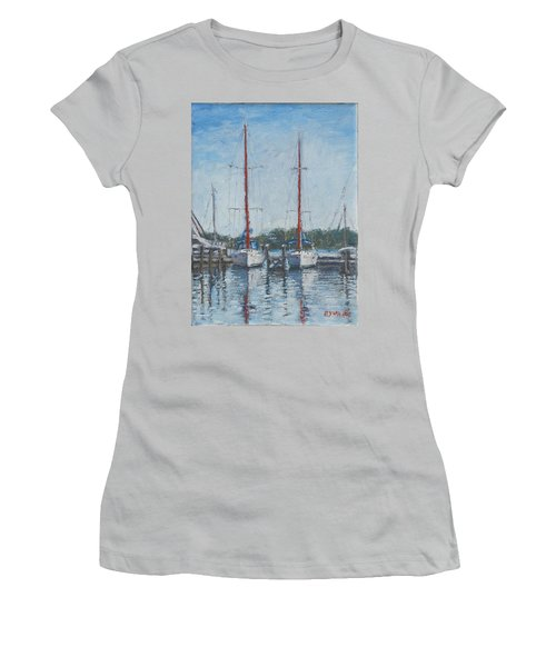Red Sails Under Gray Sky Women's T-Shirt (Athletic Fit)