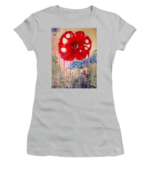 Women's T-Shirt (Junior Cut) featuring the painting Red Weed Red Poppy by Daniel Janda