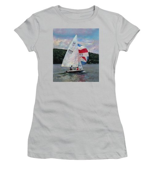 Women's T-Shirt (Junior Cut) featuring the drawing Red White And Blue Sailboat by Viola El