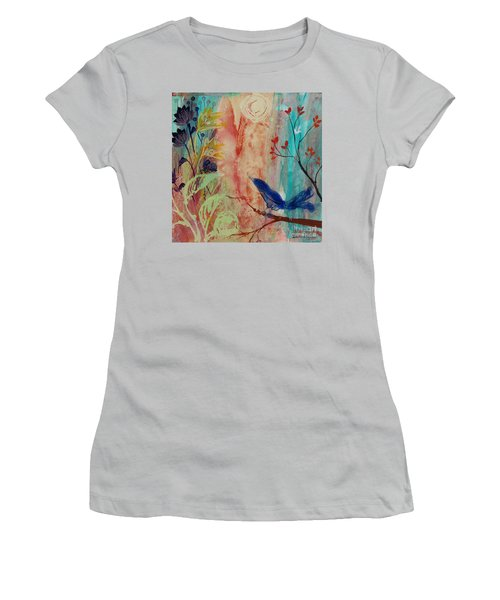 Women's T-Shirt (Junior Cut) featuring the painting Rhythm And Blues by Robin Maria Pedrero