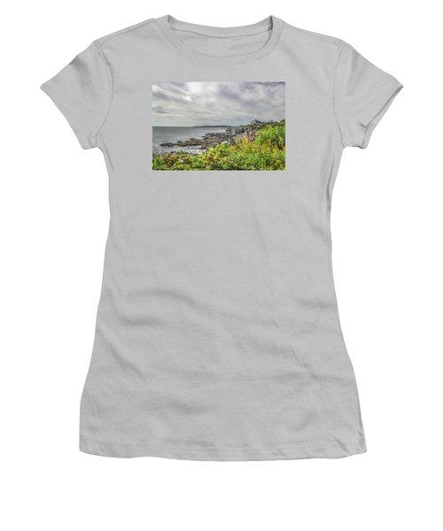 Women's T-Shirt (Junior Cut) featuring the photograph Rocky Maine Shoreline by Jane Luxton