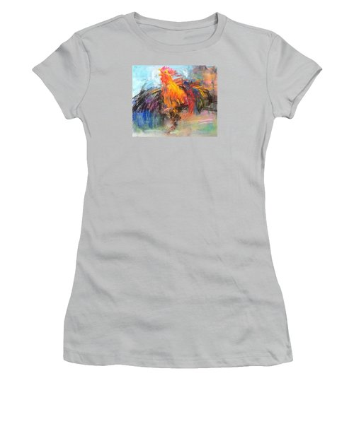 Women's T-Shirt (Junior Cut) featuring the painting Rooster by Jieming Wang